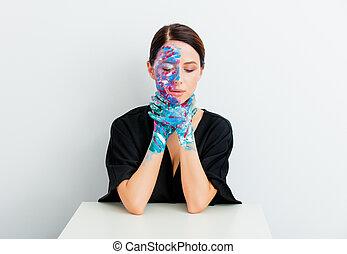 femme, dans, lagom, style, et, peint, mains, à, figure
