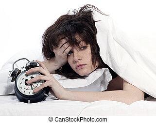 femme, dans lit, réveil