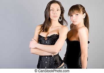 femme, dans, noir, corset