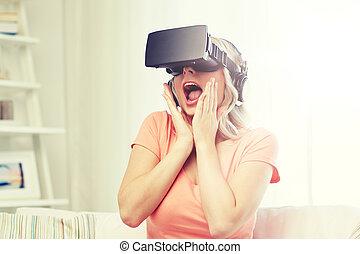 femme, dans, réalité virtuelle, casque à écouteurs, ou, 3d lunettes