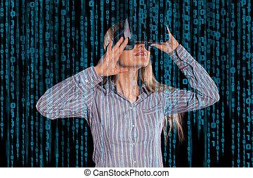 femme, dans, réalité virtuelle, casque à écouteurs