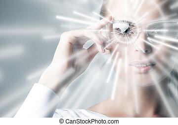 femme, dans, réalité virtuelle, lunettes