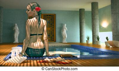 femme, dans, spa