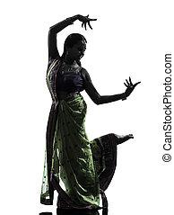 femme, danseur, silhouette, indien, danse