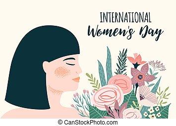 femme, day., s, vecteur, asiatique, gabarit, international, fleurs, femmes
