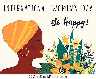 femme, day., s, vecteur, gabarit, africaine, international, fleurs, femmes