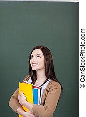 femme debout, étudiant, pensée, jeune, joli