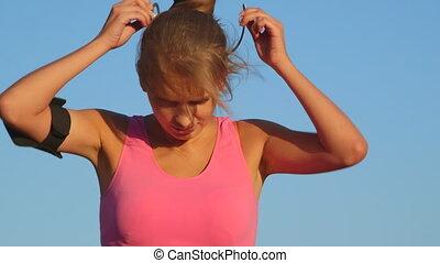femme, dehors, jeune, fitness, début, exercice