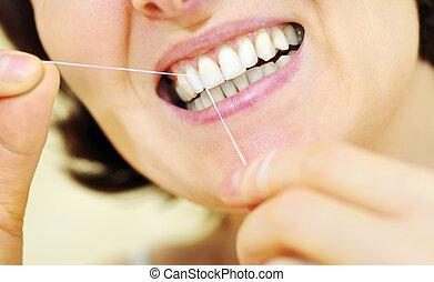 femme, dentaire, quelques-uns, soie