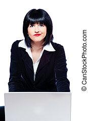 femme, derrière, ordinateur portable, marveling