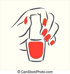 femme, dessiné, illustration, main, clou, vecteur, manucure, mains, polonais