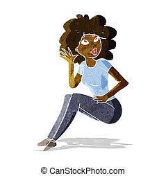 femme, dessin animé, écoute