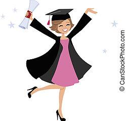 femme, dessin animé, diplômé