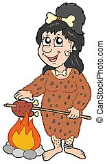 femme, dessin animé, préhistorique