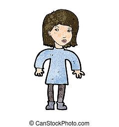 femme, dessin animé, prudent