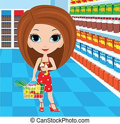 femme, dessin animé, supermarché