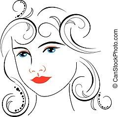 femme, dessin, figure