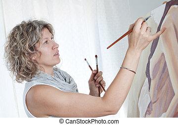 femme, dessine, artiste, portrait, woman., studio.