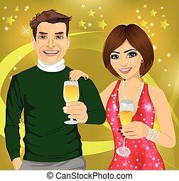 femme, deux âges, jeune, leur, homme, mains, vin, célébrer, lunettes