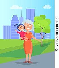 femme, deux âges, petite-fille, mains