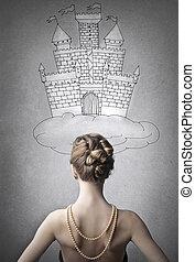 femme, devant, château