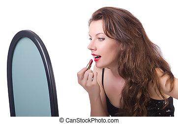 femme, devant, miroir