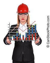 femme, diagramme, ingénieur