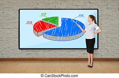femme, diagramme, pointage