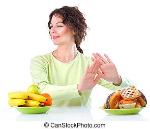 femme, diet., choisir, fruits, jeune, entre, beau, bonbons