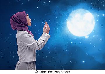 femme, Dieu, musulman, jeune, Asiatique, prier