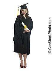 femme, diplômé, à, diplôme