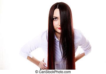 femme, directement, couvertures, figure, cheveux séparent, long