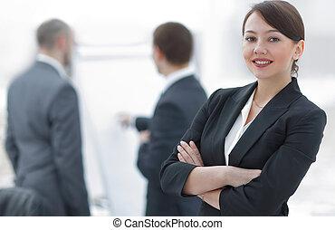 femme, directeur, fond, bureau, réussi