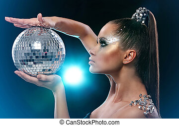 femme, discoball, artistique, maquillage