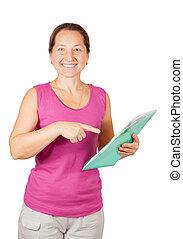 femme, documents, mûrir, pointage