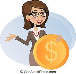 femme, dollar, business, monnaie