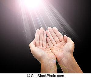 femme, donner, main, lumières, incandescent, concept, tenant mains, ou
