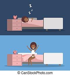 femme, dormir, haut, lit, réveiller