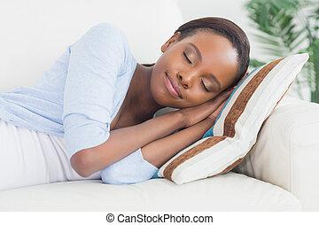 femme, dormir, quoique, noir, côté, mensonge