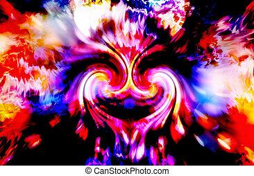 femme, double, énergie, spirale, symbole., divin, résumé