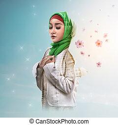 femme,  double, musulman, mosquée, fleur, exposition