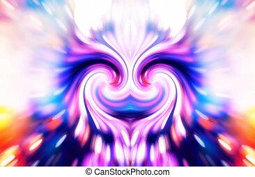 femme, double, symbole, spirale, résumé, divin, énergie