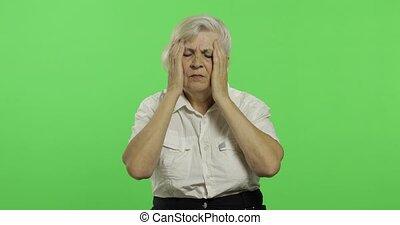 femme, douleur, chroma, personnes agées, trouble., grand-mère., clã©, vieux, souffrir, mal tête