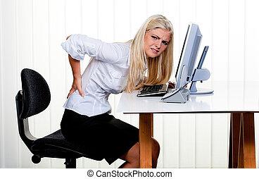 femme, douleur, dos, bureau