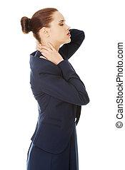 femme, douleur, dos, business