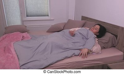 femme, douleur, haut, dos, sillage, pyjama