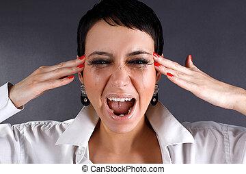 femme, douleur, -, larmes, crier, dépression