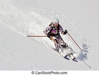 femme, doux, neige, skieur