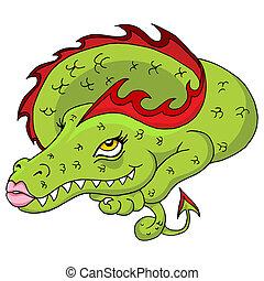 femme, dragon