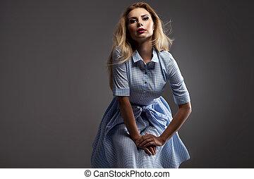 femme, dress., bleu, heureux, blond